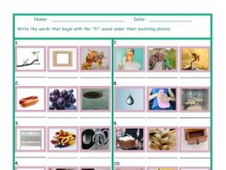 Phonics Consonant Blend FR Photo Worksheet