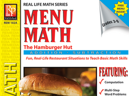 Consumer Addition & Subtraction: Hamburger Hut Menu Math