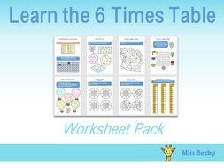6 Times Table Worksheet Pack By Miss Becky Teaching Resources Tes