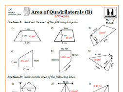 Area Of Quadrilaterals 9 1 Gcse Maths Worksheets And Answers By