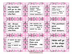 Object vs Subject Pronouns Card Game 4 Pages = 36 Cards