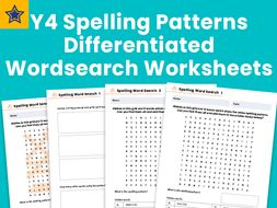 year 4 spelling patterns differentiated wordsearch. Black Bedroom Furniture Sets. Home Design Ideas