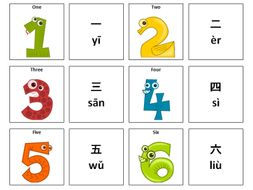 Numbers: Chinese Mandarin Vocabulary Card Sort