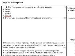 Edexcel CB2 Biology Knowledge Assessment