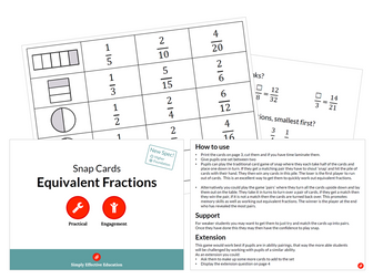 Equivalent Fractions (Snap Cards)