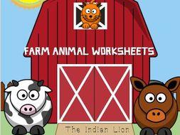 Farm animal worksheet for  preschool