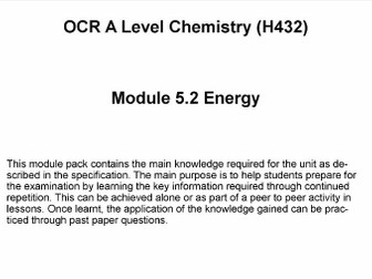 OCR A Level Chemistry (H432)      Module 5.2 Energy