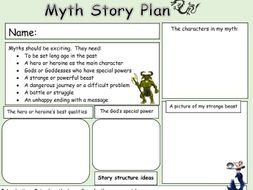 Greek Myth Story Planning Template For Pupils To Use To Plan Their