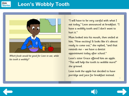 Leon's Wobbly Tooth Interactive Storybook - Independent Reader Level - PSHE KS1