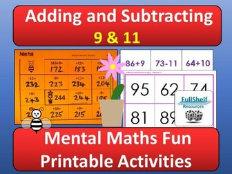 Add and Subtract 9 and 11 Activities