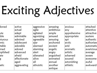 Exciting Adjectives List