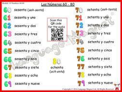 Spanish Numbers 60 to 80 Audio Sheet