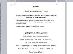 10 Minute Bullying Play Primary School Screen Play Script By
