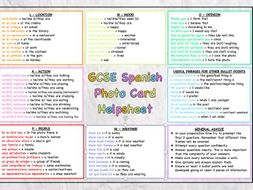 GCSE Spanish Speaking Photo Card Helpsheet