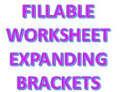 Fillable Maths Worksheet - Expanding Brackets