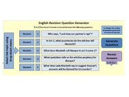 Macbeth:  100 randomly generated questions