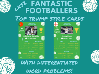 Year 4 Maths activity  top trump style cards with questions