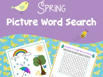 Spring Picture Word Search Puzzle