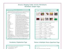 Grocery Shopping Combo Activity Worksheets