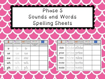 Phonics Phase 5 - Sounds and Words Spelling Sheets