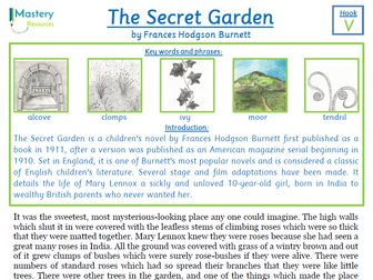 The Secret Garden by Frances Hodgson Burnett Comprehension KS2
