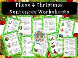 Phase 4 Christmas Sentences Worksheet Pack