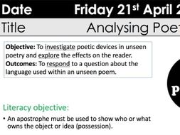 GCSE Eduqas WJEC Unseen Poetry lesson KS3/KS4 Autumn Alan Bold