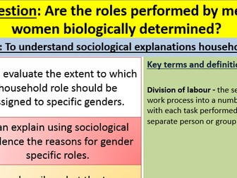 AQA A level Sociology Families and Households Division of labour