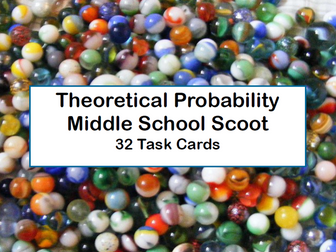 Theoretical Probability-Middle School-Scoot and Task Cards-Marbles Theme