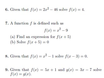 Functions worksheet (with solutions)