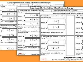 Year 5 Mixed Numbers to Improper Fractions WRM Fractions Reasoning and Problem Solving Pack