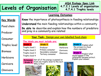 New AQA Ecology Spec- Food Chains, Levels of Organisation & Trophic Levels- Powerpoint & Worksheets