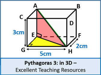 Geometry: Pythagoras 3 - Pythagoras in 3 Dimensions (3D) + resources