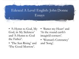 Edexcel A Level John Donne Essays