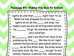 Second Grade Cloze Reading Passages Set A (#1-10) by mrswoollacott ...