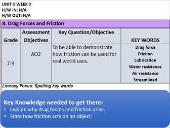 KS3: Drag Forces and Friction
