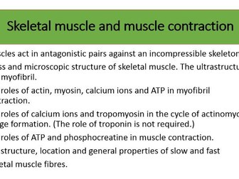 Skeletal muscle and muscle contraction AQA 3.6.3