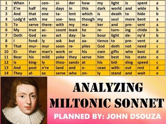 ANALYZING MILTONIC SONNET: LESSON PLANS & RESOURCES