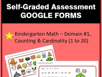 Distance Learning Self-Graded Assessment Kindergarten Math-Counting/Cardinality