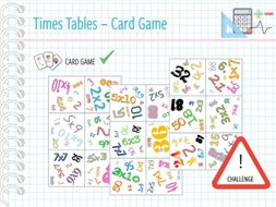 Maths Multiplication to 100 - CARD GAME