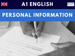 Personal Information A1 Beginner ESL Lesson Plan