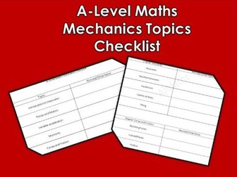 A Level Maths 2017 Mechanics Checklist