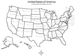 United States of America Map - Write the name of each state on the map