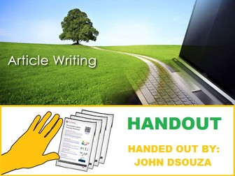 ARTICLE WRITING : FORMATS AND SCAFFOLDING NOTES