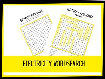 Electricity Wordsearch | KS2 Science