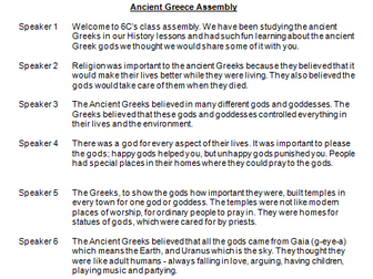 Ancient Greek Gods Primary Class Assembly