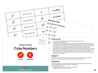 Cube Numbers (Snap Cards)