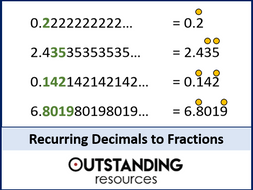 Fractions 9 - Recurring Decimals and Terminating Decimals to Fractions