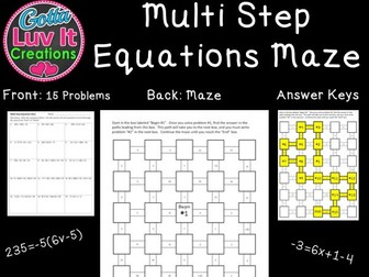 Solving Equations Multi Step Equations - 2 Mazes