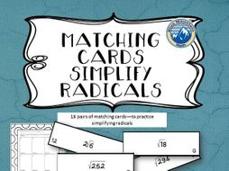 Simplifying Radicals Matching Card Set